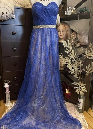 Красивое выпускное вечернее синее платье в пол корсет