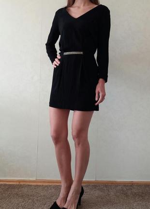 Черное платье зара,платье zara,платье с рукавом zara