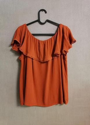 Футболка, блуза, блузка с воланом, блуза с открытыми плечами