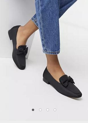 Asos текстильные туфли лоферы балетки бант тканевые