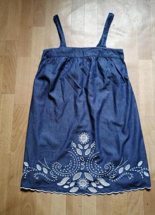 Платье из  хлопка свободного покроя с вышивкой р м