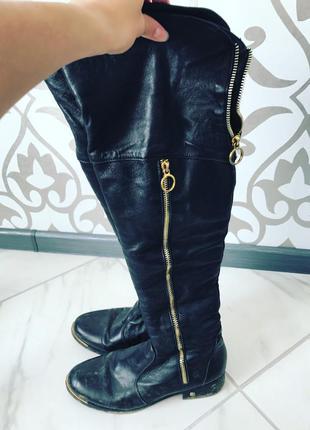 Сапоги ботинки ботфорты актуально чёрные экокожа
