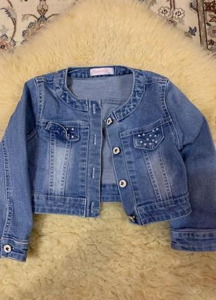 Укороченый джинсовый пиджак 3-4