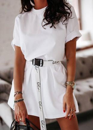 Платье туника 2 цвета, платье-футболка, платье мини, платье с поясом (арт 1401)