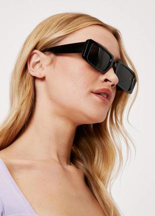 Трендовые солнцезащитные очки прямоугольные узкие черные ретро окуляри сонцезахисні чорні