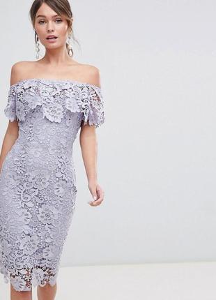 Нежное лавандовое платье из кружева вечернее выпускное