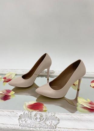 Туфли лодочки женские кожаные цвет пудра каблук 9 см