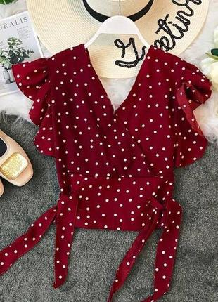 Бордовая блуза блузка на запах с рюшами в горох