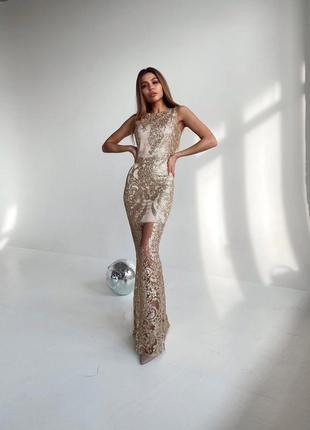 Шикарное женское выпускное платье,вечернее платье в пол в обтяжку,золотое платье блестящее