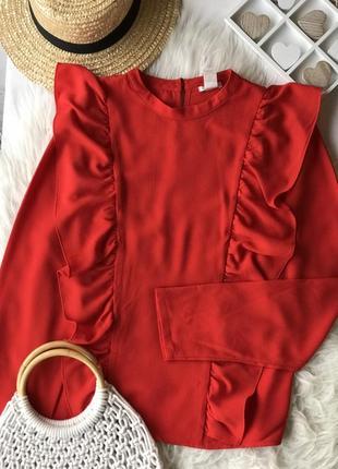 Красная ❤️ нарядная блуза с оборками forever 21