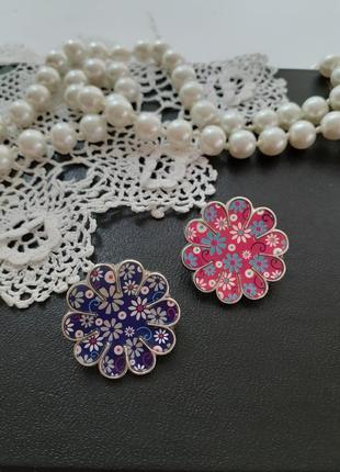 🌸 брошь 🌼пин 🌺 цветы цветок пара металлический значок в эмали фуксия лот