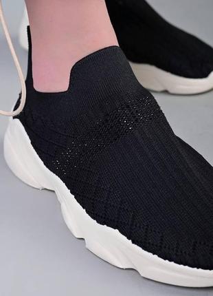 Акция. летние черные текстильные кроссовки кеды носки слипоны макасины.