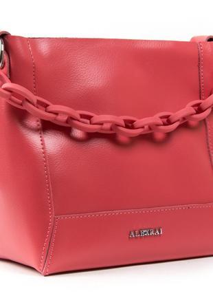 Молодежная женская сумочка из натуральной плотной кожи в красно-розовом цвете