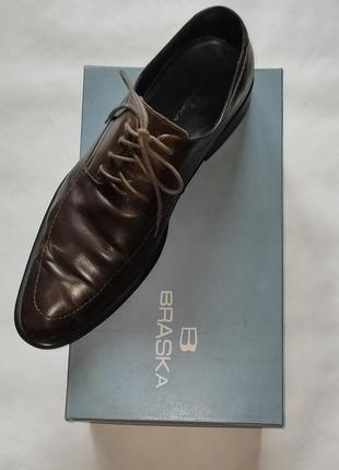 Фирменные кожаные туфли braska, кожа, шкіряеі туфлі