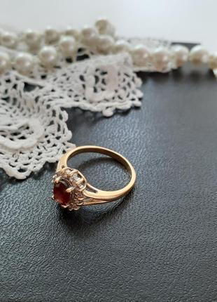 Кольцо золото  винтаж 14 карат гранат фианиты перстень клеймо 14к