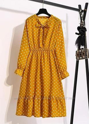 Жёлтое горчичное платье в горошек на запах с воланами с поясом актуальное