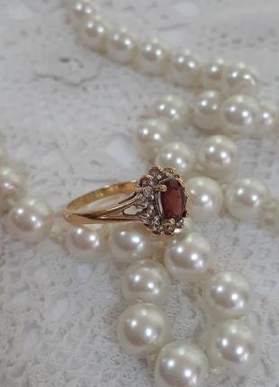 Перстень винтаж арт-нуво золото гранат фианиты клеймо 14кр