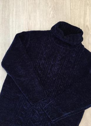 Темно-синий велюровый объемный свитер debenhams