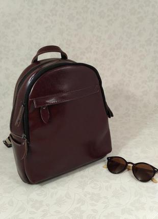Стильный рюкзак цвета марсал, натуральная кожа