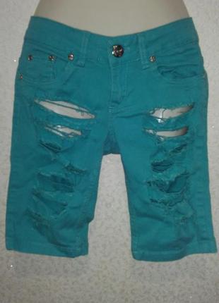 Шорты джинсовые бирюзовые рваные 27 размер