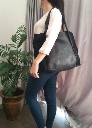 Большая сумка шоппер из натуральной кожи river island