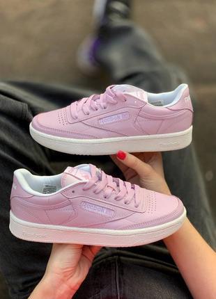 ❤ женские розовые кожаные кроссовки reebok club c 85 pink  ❤