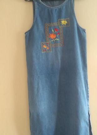 Сарафан джинс с вышивкой
