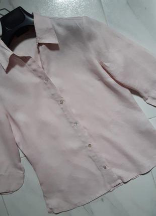 Трендовая хлопковая рубашка летняя блуза лен бавовна пыльно-розовый цвет деловой стиль летний s
