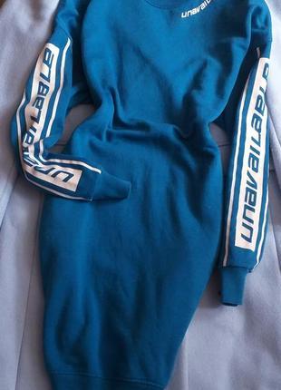 Стильное трикотажное платье худи свитшот на флисе с надписью карманами от fb sister