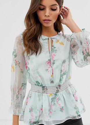 Люксовая шифоновая блузка с цветочным принтом топ с оборками