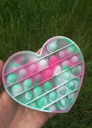 Pop it сердце розовое игрушка анти стресс для детей и взрослых поп ит радужный попит