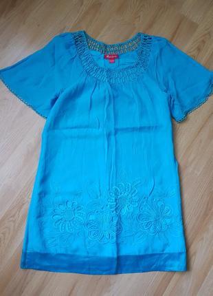 Шелковое платье с вышивкой, вышыванка, туника