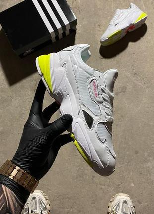🔥 кросівки  adidas falcon white yellow.