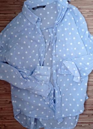 Рубашка горошек хлопок2 фото