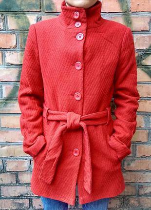 Крутое пальто морковного цвета / 80 % шерсть/ jasper conran
