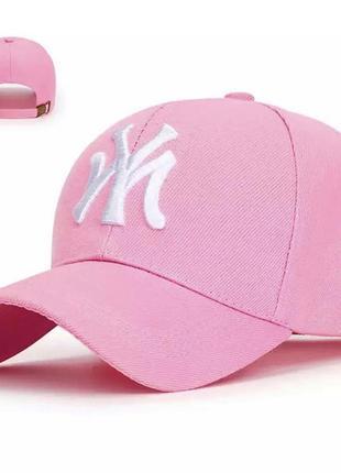 Розовая джинсовая кепка с белом вышивкой нью-йорк 47 с регулировкой застёжкой длинный козырёк
