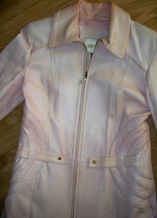 Плащ-пальто кожаное, модного розового цвета  турция
