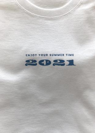 Хлопкова футболка «enjoy your summer time 2021»