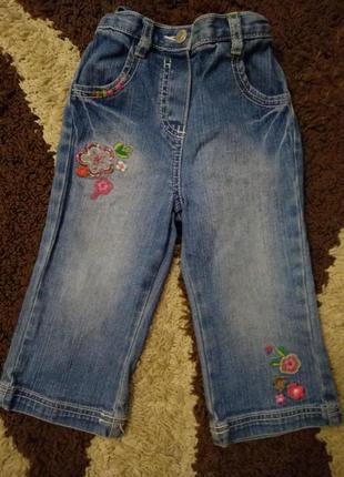 Джинсы с красивой вышивкой 12-18мес