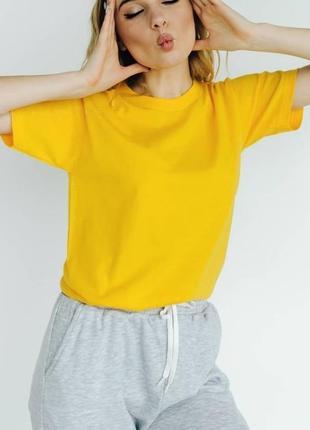 Базовая яркая однотонная х/б футболка много цветов на выбор 💛 oversize