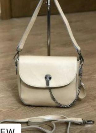 Кожаная сумочка,нежный цвет слоновой кости,.