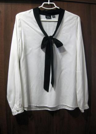 Блузка рубашка esmara белая длинный рукав с завязками галстук бант вискоза