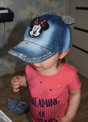 Бейсболка кепка для девочки с мики маусом и ушками