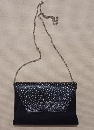 Нарядная вечерняя сумочка,  камни,  на цепочке