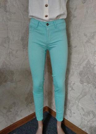 Мятные джинсы скинны завышенная талия посадка