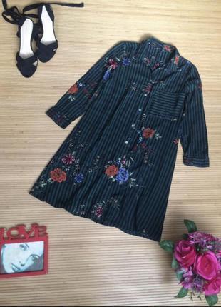 Платье рубашка в полоску зелёное принт цветы stradivarius
