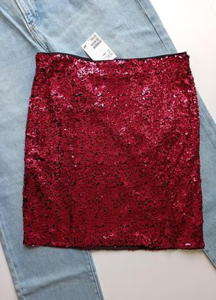 Красная юбка пайетки червона спідниця h&m
