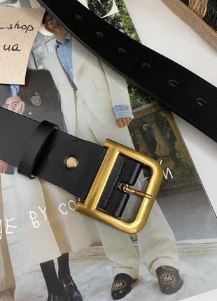 Кожаный ремень в стиле dio чёрный широкий с темно-золотой бронзовой пряжкой бляхой