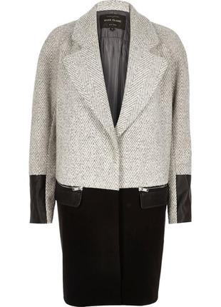 Пальто кокон , тёплое пальто оверсайз  , шерстяное серое пальто с кожаными вставками