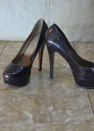 -37-38 туфли обувь шпилька aldo каблук -на узкую ножку, коричневая мраморная расцветка